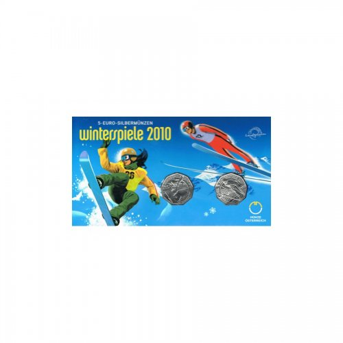 2x 5 Euro Winterspiele 10 2010 hdgh im Blister & Miniblister