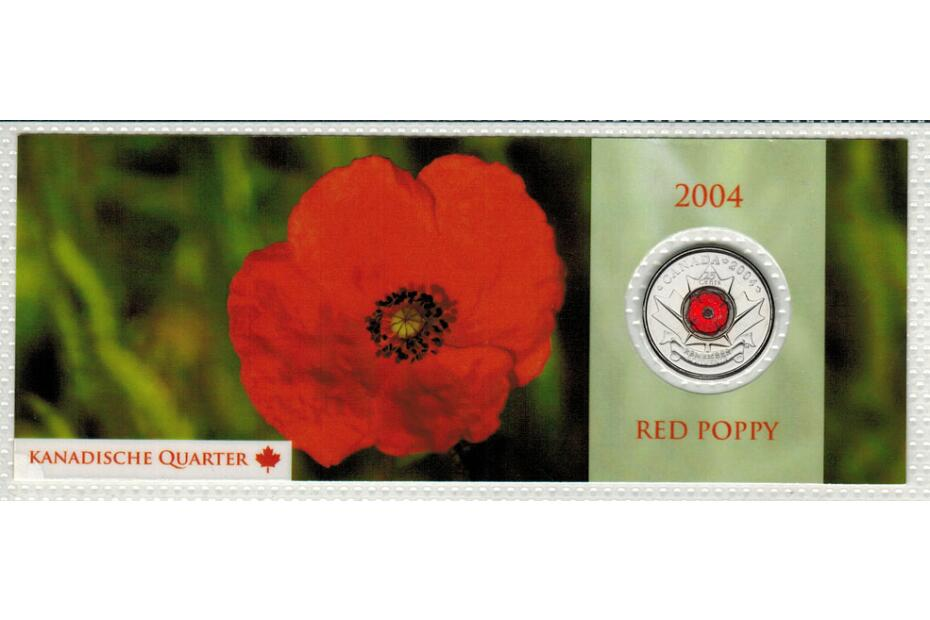 25 Cent 2004 Rememberence Day - Poppy  mit Farbmotiv im Noppenblister